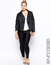 Asos Curve Legging With High Waist In Shimmer Disco Black
