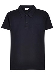 Sunspel Riviera Navy Cotton Mesh Polo Shirt
