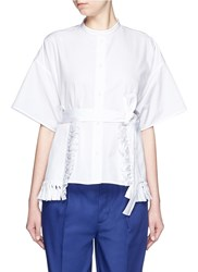 Ports 1961 Ribbon Tie Fringe Trim Split Shirt White