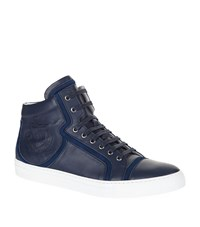 Billionaire Leather Crest Logo High Top Sneaker Male Blue