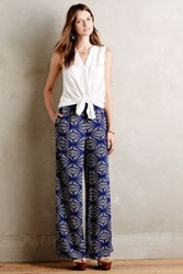 Anthropologie Hirondelle Wide Legs Blue Motif