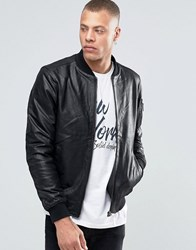 Solid Leather Bomber Jacket Black