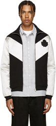 Alexander Mcqueen Black And Ivory Logo Zip Up Sweater