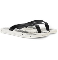 Dolce And Gabbana Pineapple Printed Leather Flip Flops Black