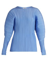 Jil Sander Calia Pleated Silk Top Blue