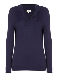 Linea Oxford Cashmere Blend Hooded Top Indigo