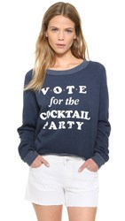 Wildfox Couture Cocktail Party Cropped Sweatshirt After Midnight Blue