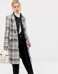 Stradivarius White Based Check Coat Multi