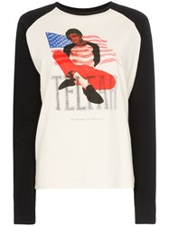 Telfar Tour Print Cotton Raglan T Shirt Black