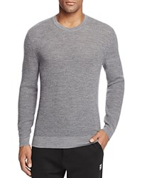 Bloomingdale's The Men's Store At Thermal Stitch Merino Wool Crewneck Sweater Heather Grey
