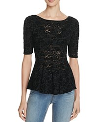 Free People Chenille Lace Peplum Top Black