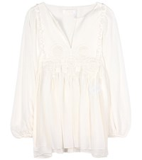 Chloe Silk Crinkle Gauze Top White