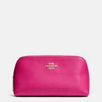 Coach Cosmetic Case 17 In Crossgrain Leather Light Gold Cerise
