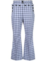 Marni Checked High Waist Trousers Blue