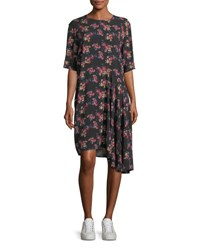 Public School Rima Crewneck Half Sleeve Floral Print Dress Multi