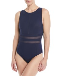Shan Do You Think I'm Sexy High Neck One Piece Swimsuit Blue