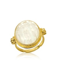 Tagliamonte Three Graces 18K Gold White Mother Of Pearl Cameo Ring