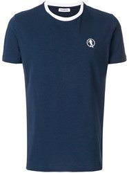 Dirk Bikkembergs Logo Patch T Shirt Blue