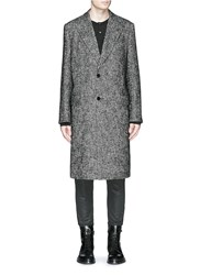 Dolce And Gabbana Peak Lapel Wool Cotton Coat Grey