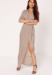 Missguided Satin Wrap Collar Maxi Dress Grey Brown