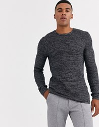 Only And Sons Knitted Jumper With Black Mixed Yarn Cotton