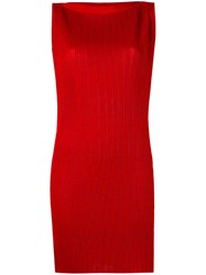 Emporio Armani Fitted Dress Women Polyester Viscose 42 Red