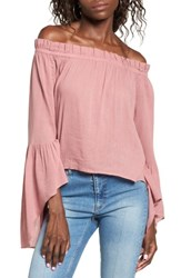 Sun And Shadow Women's Bell Sleeve Off The Shoulder Blouse Pink Nostalgia