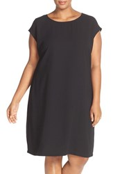 Sejour Plus Size Women's Cap Sleeve Shift Dress Black
