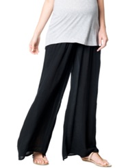 A Pea In The Pod Maternity Smocked Wide Leg Pants Black