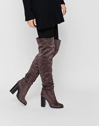 Public Desire Hope Block Heeled Thigh High Boots Grey Suede