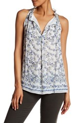 Max Studio Printed Sleeveless Blouse White
