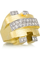 David Webb City 18 Karat Gold Gold And Platinum Diamond Ring