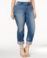 Inc International Concepts Plus Size Cropped Sunlight Wash Straight Leg Jeans Only At Macy's