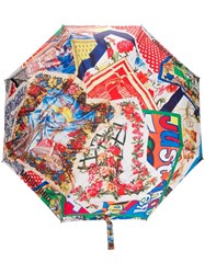 Moschino Printed Logo Umbrella Neutrals