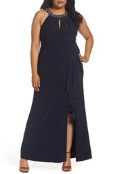 Vince Camuto Plus Size Women's Beaded Neck Faux Wrap Gown Navy