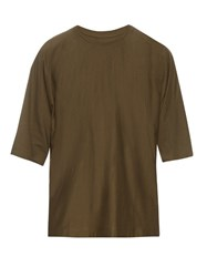 Homme Plisse Crew Neck Cotton T Shirt Khaki