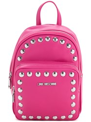 Love Moschino Studded Logo Backpack Women Polyurethane One Size Pink Purple