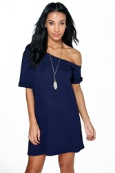 Boohoo Off The Shoulder Slouchy Dress Midnight