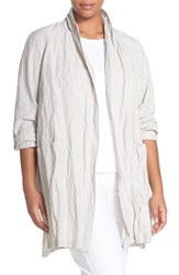 Plus Size Women's Eileen Fisher Rumpled Metallic Cotton Blend Kimono Coat