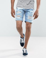 Pull And Bear Denim Shorts With Distressing In Bleach Wash Blue