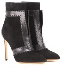 Francesco Russo Suede And Leather Ankle Boots Black