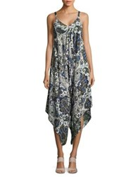 Design Lab Lord And Taylor Printed Handkerchief Jumpsuit Blue Olive Paisley
