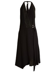 Versace Crystal Embellished Crepe Wrap Dress Black