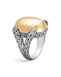 John Hardy Sterling Silver And 18K Bonded Gold Classic Chain Hammered Large Oval Ring Gold Silver