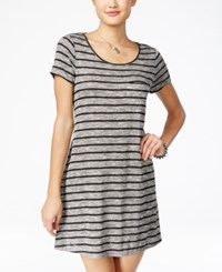 Fire Juniors' Striped A Line T Shirt Dress Black