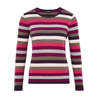 Viyella Stripe Merino Jumper Purple