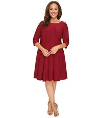 Christin Michaels Plus Size Andrea 3 4 Sleeve Fit And Flare Dress Garnet Women's Dress Red