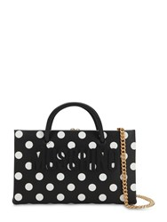 Moschino Dot Logo Printed Leather Shoulder Bag Black Whit Dots