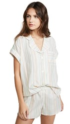 Madewell Short Sleeve Night Shirt Rainbow Stripe Pearl Ivory