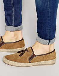 Dune Tassel Slip On Shoes In Suede Tan